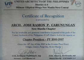 Carunungan partners co architects philippines awards and certificates of appreciation yadclub Gallery